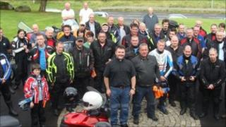 Fr Sweeney and some of the congregation at Sunday's Biker's Mass