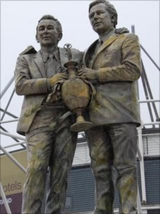 Discoloured Brian Clough and Peter Taylor statue