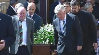 Huw Ceredig's coffin is brought out of the Bridgend Tabernacle