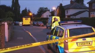 Police cordon at Hightown, Wrexham