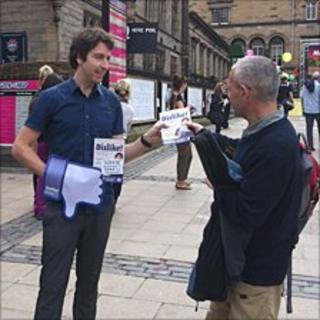 Colm handing out flyers