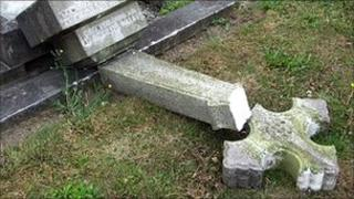 Headstone smashed by vandals at St James the Great Church, Brinsley