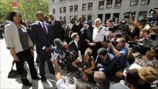 Nafissatou Diallo after meeting prosecutors in New York on 22 August 2011