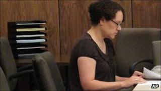 Jessica Beagley in court in Anchorage, Alaska, 23 Aug 2011