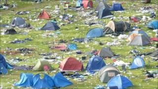 The campsite after Leeds Festival