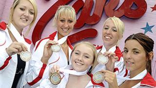 The Angel Baton Twirlers, from left, Amber Stewart, Sarah Cullum, Melissa Bowling, Claire Cullum and Lauren Stearman
