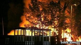 Wood yard fire on Victoria Road in Netherfield, Nottingham. Photo: Derek Jeffries