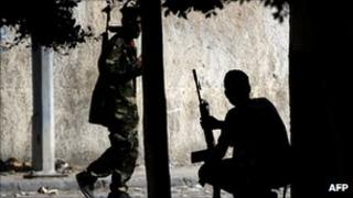 Rebel fighters in Tripoli