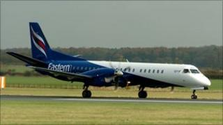 Eastern Airways Saab 2000 aircraft that will operate the Glasgow to Stavanger service