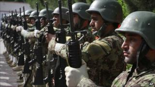 July 2011 photo of Afghan troops during the transfer of security from Nato in Laghman province