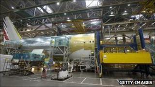 Boeing plane under construction in Everett, Washington
