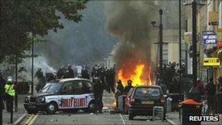 Scenes of violence during the riot in Hackney, east London, on 8 August