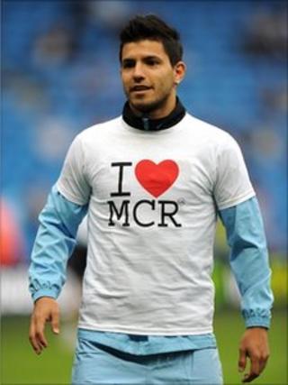 Sergio Aguero wearing a I Love MCR T-shirt