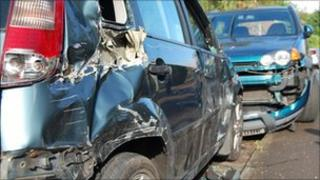 Damage to a vehicle caused by a truck in Hucknall, Nottinghamshire