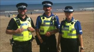 Police on the beach in Mablethorpe