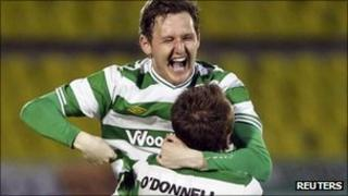 Shamrock Rovers players celebrate their victory over Partizan Belgrade