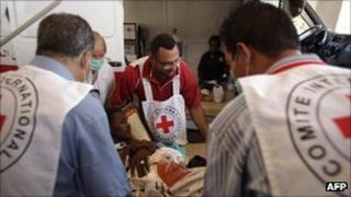 An ICRC team at a hospital in Libya