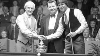 Len Ganley pictured between David Taylor and Tony Knowles before the 1982 International Open final