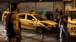 Scene of the attack in Tel Aviv, 29 August