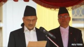 Baburam Bhattarai being sworn in on 29 August 2011