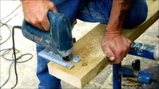 Joiner cutting wood