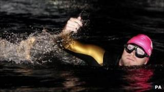 Ronan Keating was the first to swim in the marathon challenge