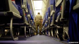 Interior of a passenger plane