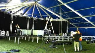 Merthyr Rock marquee preparation