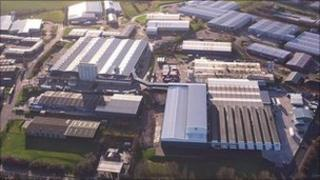 Aerial view of VEKA factory in Burnley