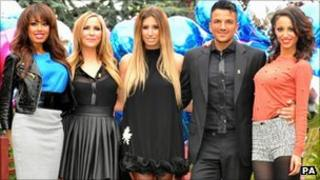 Peter Andre with Stacey Solomon (centre) and the Sugababes