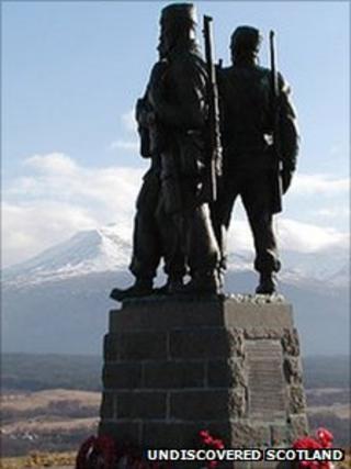 Commando memorial. Pic: Undiscovered Scotland