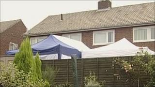 A tent was erected in the back garden of the house
