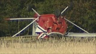 The crashed plane