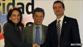 Colombian Attorney-General Vivian Morales, President Juan Manuel Santos and Florida Southern District Attorney Wilfredo Ferrer