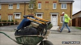 Construction worker on housing development