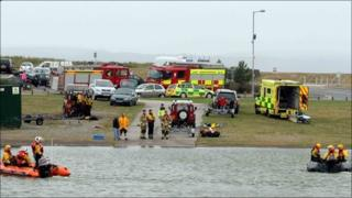 Emergency services at the scene of the search in Llanelli's North Dock