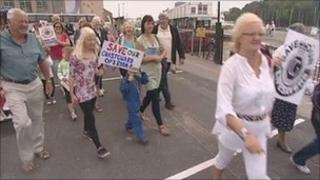 Protesters in Weymouth