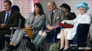 David Cameron and his wife Samantha along with the Queen and Prince Philip at Braemar Gathering