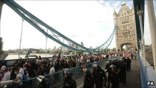 EDL demonstrators and police on Tower Bridge