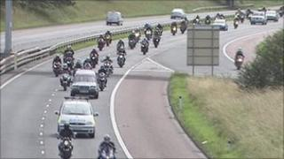 The bikers provided an escort along the motorway