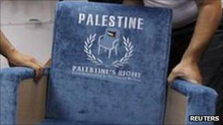"""Chair embossed with """"Palestine"""" and the UN symbol"""