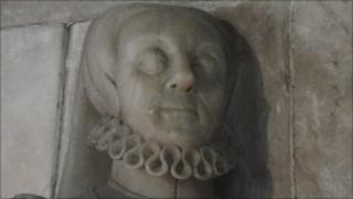 Memorial to Blanche Parry in Bacton church
