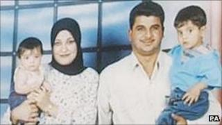 Baha Mousa with his wife and children