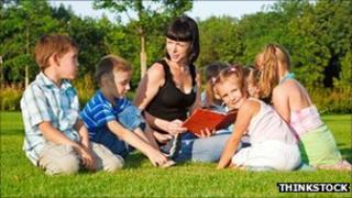 Teacher with children outdoors