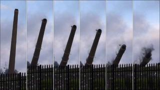 Sequence of pictures showing the chimney being demolished at Port Dundas