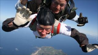 Michael Blake doing his parachute jump