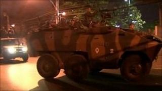 Reinforcements arrive at the Alemao shantytown, Rio de Janeiro, Brazil, 6 September 2011