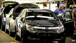 Car production at Toyota factory in Derbyshire