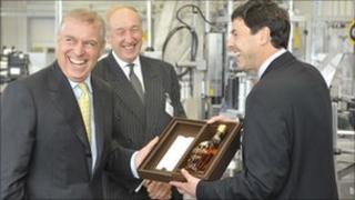 Prince Andrew at the official opening of the Glenmorangie bottling plant at Livingston