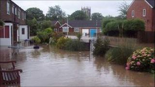 Flooded streets in Cottingham